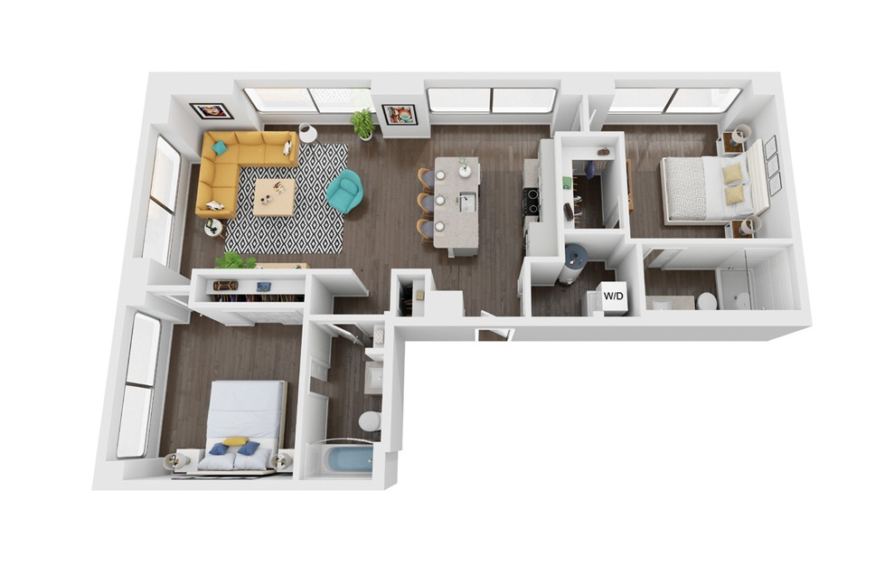 Pioneer - 2 bedroom floorplan layout with 2 baths and 1017 square feet. (3D)
