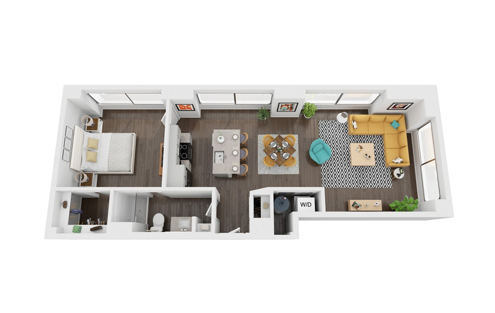 Surveyor - 1 bedroom floorplan layout with 1 bath and 759 to 772 square feet. (3D)