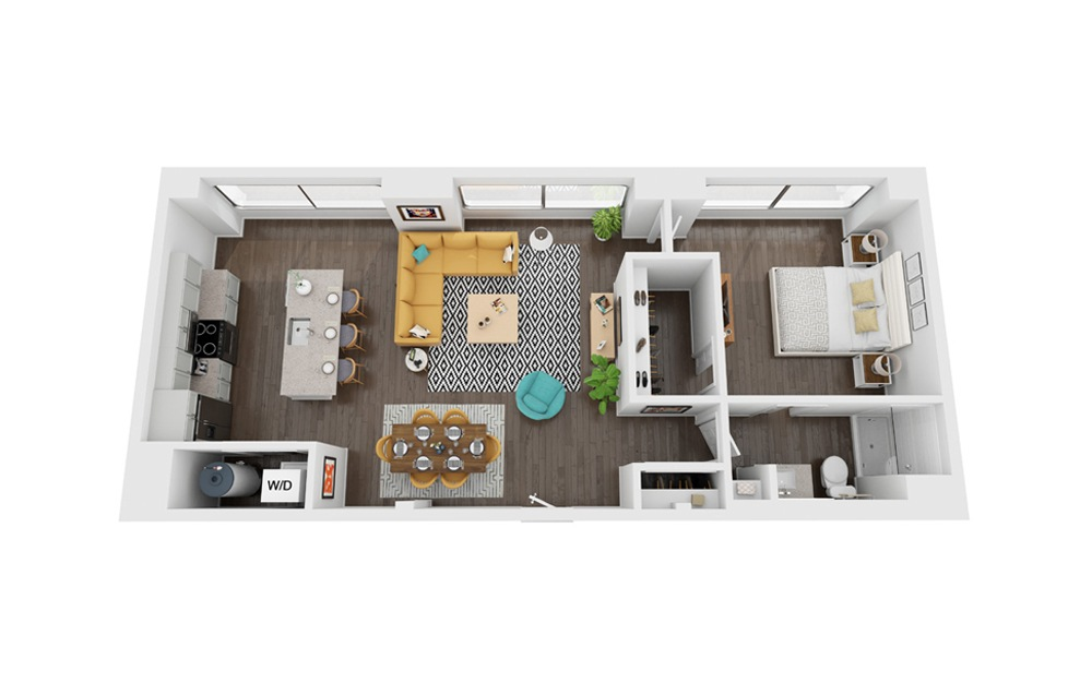 Voyager 1 - 1 bedroom floorplan layout with 1 bath and 763 to 769 square feet. (3D)