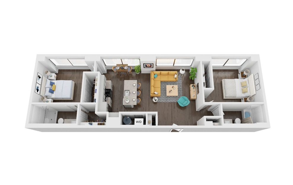 Voyager 2 - 2 bedroom floorplan layout with 2 baths and 1014 to 1088 square feet. (3D)